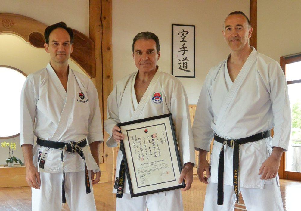 Verleihung 7. Dan an Bruno Trachsel mit Richard und Puglisi am 31.05.2014